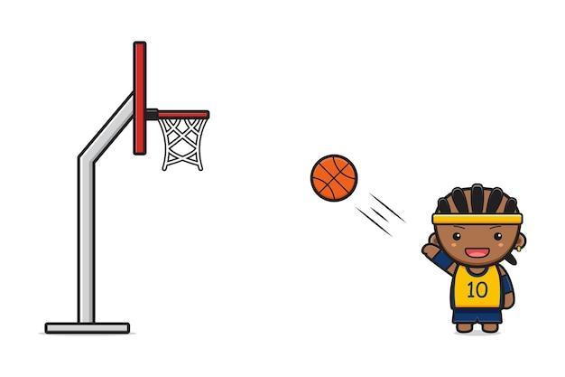 Junge spielt basketball-cartoon-symbol-vektor-illustration. entwerfen sie isolierten flachen cartoon-stil