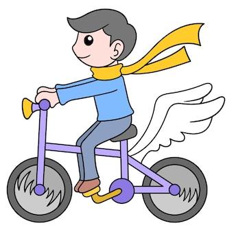Junge spielt fahrrad mit fliegenden flügeln, vektorillustrationskunst. doodle symbolbild kawaii.