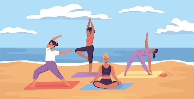 Junge sportliche frauen machen yoga-übungen am sonnigen meeresstrand