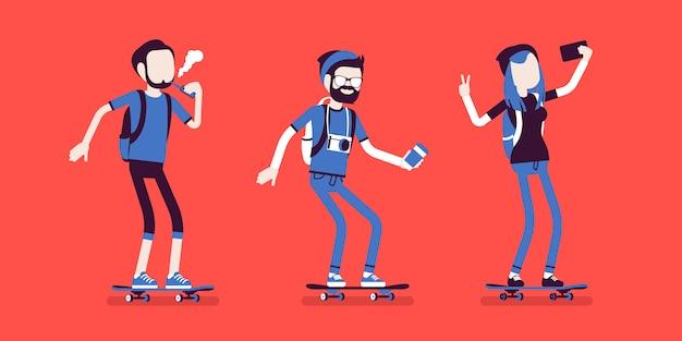 Junge sportliche schlittschuhläuferfahne