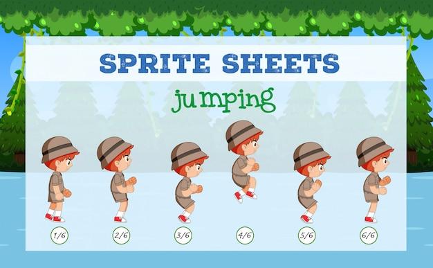 Junge sprite sheets springen