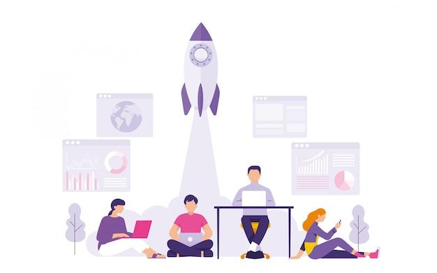 Junge start-up-unternehmer starten ihr geschäft, starten medien
