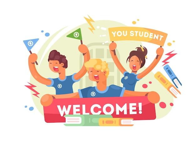 Junge studenten begrüßten mit neuem plakat. willkommen an der universität. vektor-illustration