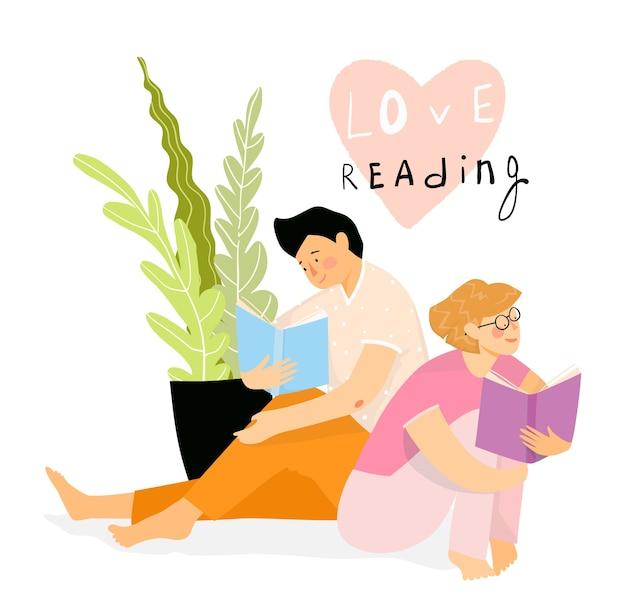 Junge studenten, ein mädchen und ein mann lernen, sitzen auf dem boden und lesen zusammen bücher. lern- und entspannungskonzept