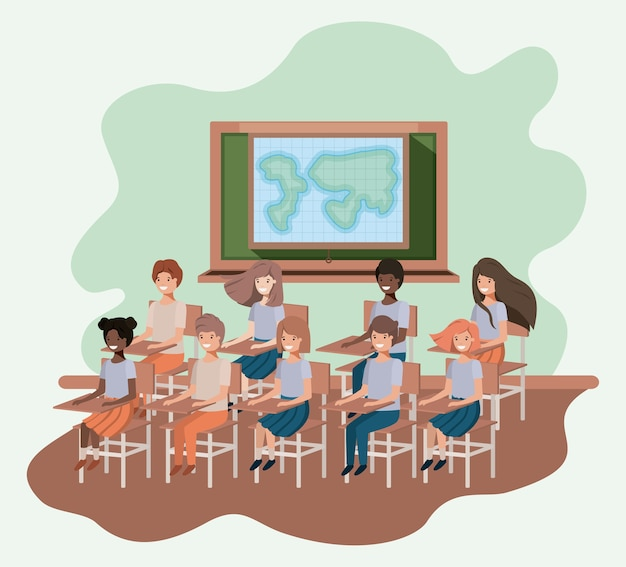 Junge studenten im geografieklassenzimmervektor-illustrationsdesign