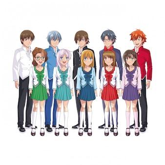 Junge studenten manga karikaturen