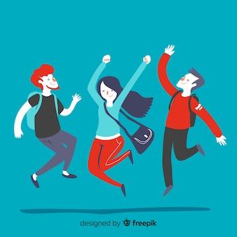 Junge studenten springen