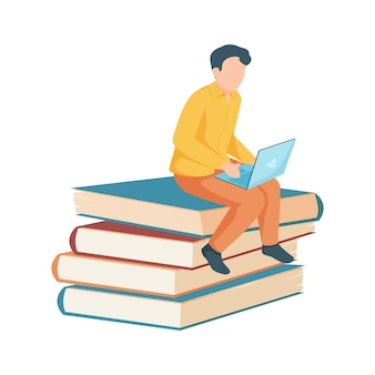 Junge studentin, die auf stapel büchern mit flacher ikonenillustration des laptops sitzt