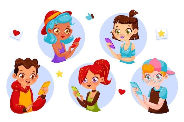 Junge süchtige menschen mit smartphones