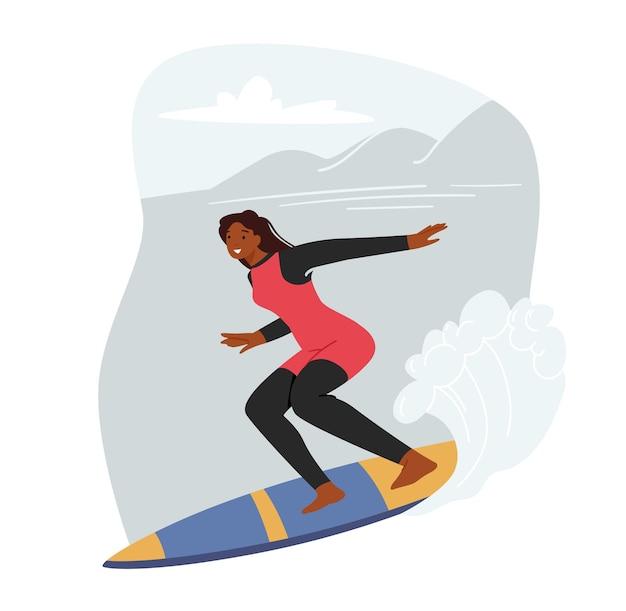 Junge surf-mädchen-charakter reiten ozeanwelle an bord, sommer-surf-aktivität, sporterholung, freizeit-hobby im meer. aufgeregt lächelnde frau im freien spaß und seeabenteuer. cartoon-vektor-illustration