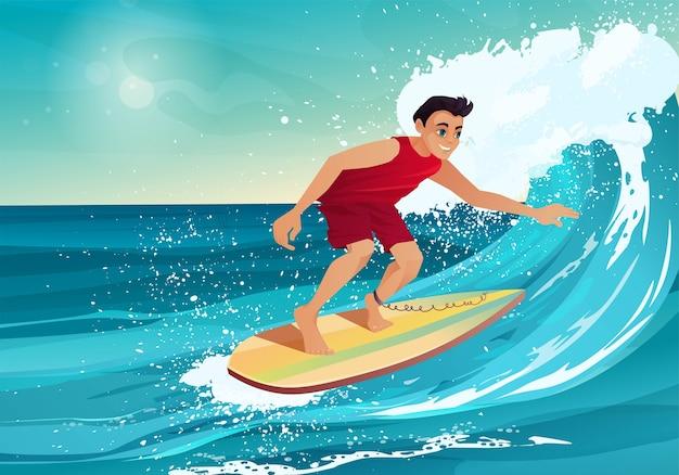Junge surft. mann, der mit körperbrett auf der großen see- oder ozeanwelle schwimmt.