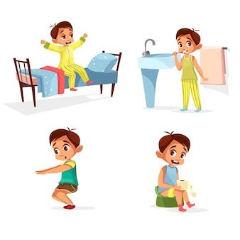 Junge tägliche routine, morgenaktivität eingestellt. männlich charakter aufwachen, strecken, zähne putzen