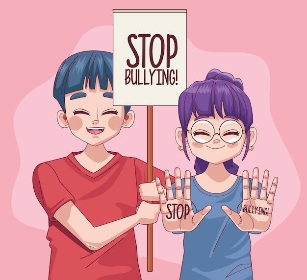 Junge teenagerpaar mit stoppmobbing-beschriftung in der protestfahnenillustration