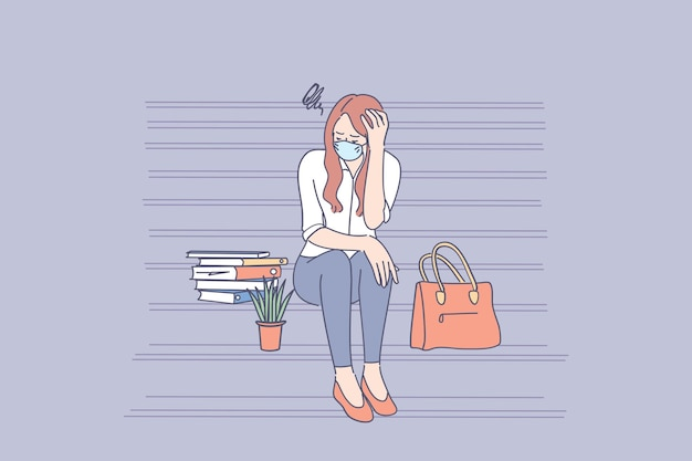 Junge traurige unglückliche arbeitslose geschäftsfrau in der gesichtsmaske, die auf treppen sitzt und sich nach dem scheitern gestresst fühlt und während der pandemie von der arbeit entlassen wird