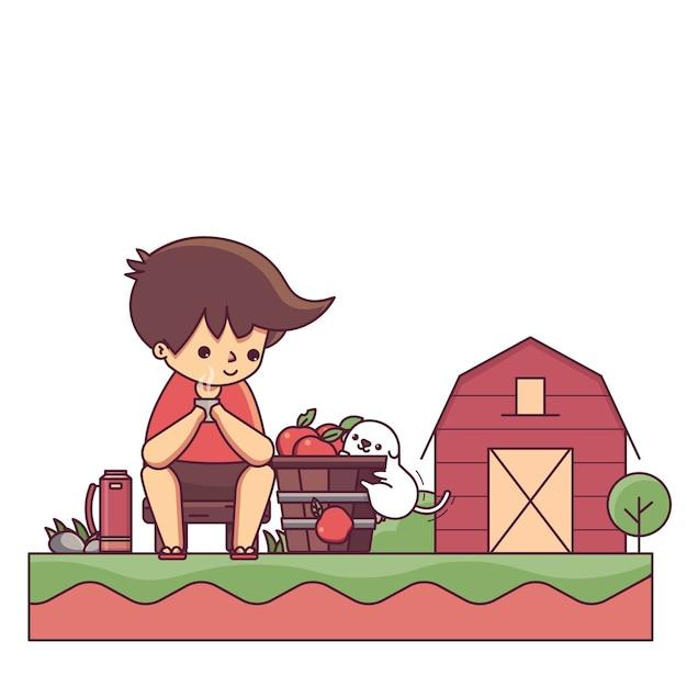 Junge und der hund in der bauernhof-haus-charakter-vektor-illustration
