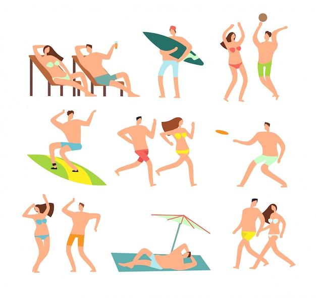 Junge und glückliche familie am sonnigen strand. vektorleutezeichen auf sommerferien