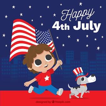 Junge und Hund, die amerikanischen Unabhängigkeitstag feiern