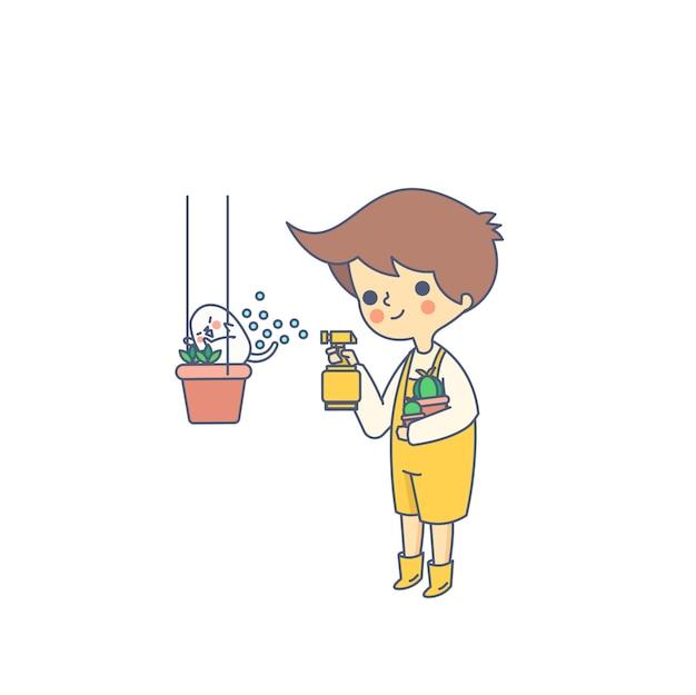 Junge und hund, die eine blumen-vektor-illustration wässern