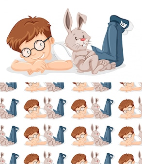 Junge und kaninchen