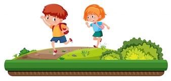 Junge und Mädchen, die auf der Straße laufen
