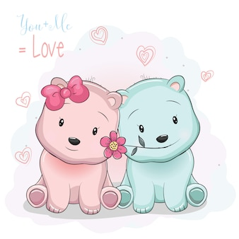 Junge und Mädchen mit zwei niedlichen Cartoonbären auf Liebeshintergrund