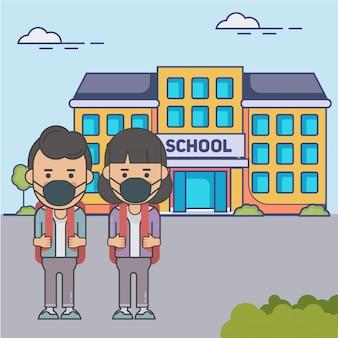 Junge und mädchen an der schule mit gesichtsmaske