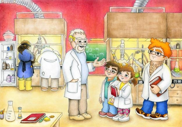 Junge und mädchen auf einem ausflug mit professor im chemischen labor