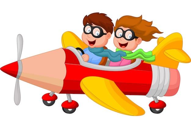 Junge und mädchen auf einem bleistiftflugzeug