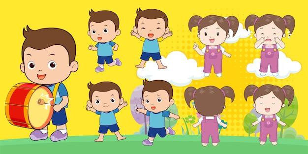 Junge und mädchen charakter cartoon