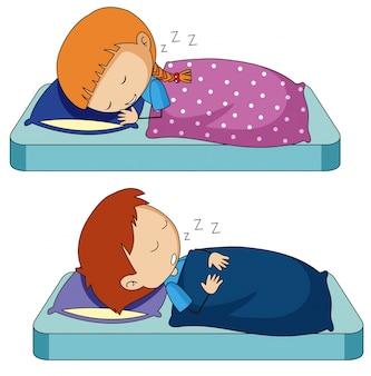 Junge und mädchen, die auf bett schlafen