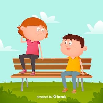 Junge und mädchen, die auf der bank veranschaulicht sitzen