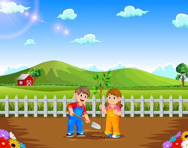 Junge und mädchen, die baum im park pflanzen