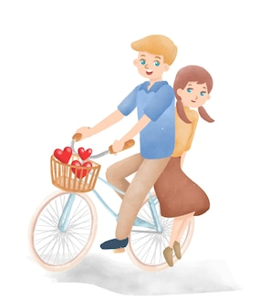 Junge und mädchen, die ein fahrrad reiten nette romantische illustration