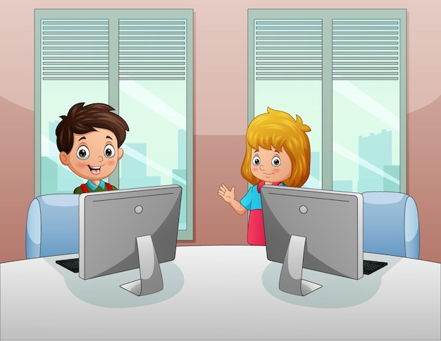 Junge und mädchen, die im büro arbeiten Premium Vektoren