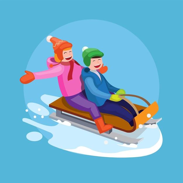 Junge und mädchen fahren auf einem schlitten im schnee winter glücklich zusammen paar illustration vektor