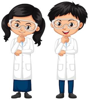 Junge und mädchen im wissenschaftskleid