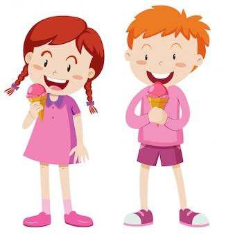 Junge und mädchen in der rosa ausstattung mit eiscreme