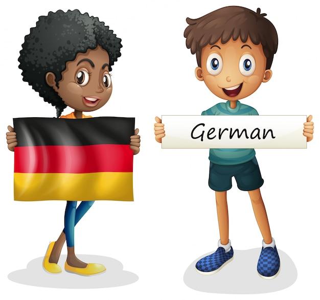 Junge und mädchen mit flagge von deutschland
