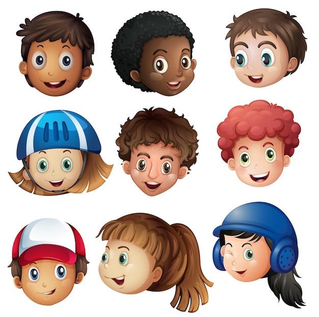 Junge und mädchen mit glücklichen gesicht illustration