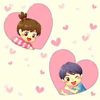 Junge und mädchen mit rosa herzen