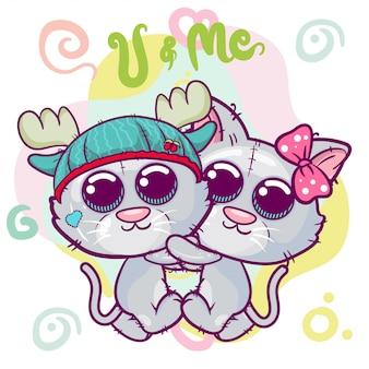 Junge und mädchen zwei nette karikatur-kätzchen.