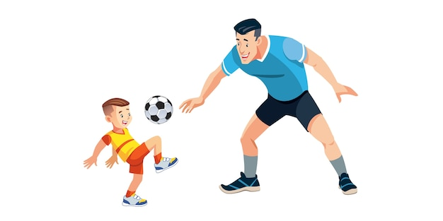 Junge und sein vater spielen fußball auf dem spielplatz