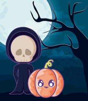Junge verkleidet als totenkopf auf halloween-szene