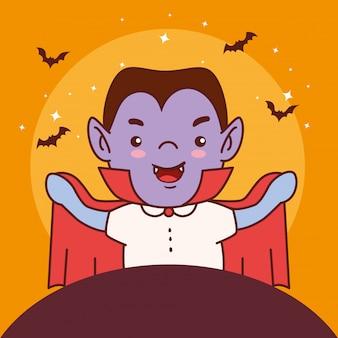 Junge verkleidet von graf dracula für glückliche halloween-feier vektor-illustration design