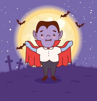 Junge verkleidet von graf dracula für glückliches halloween im dunklen nachtvektorillustrationsentwurf