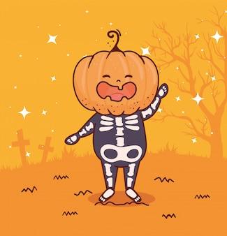 Junge verkleidet von skelett mit kopfkürbis für glückliche halloween-feier vektor-illustration design