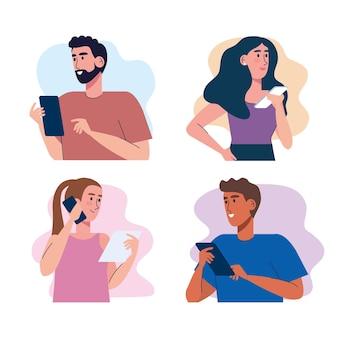 Junge vier personen, die smartphone-technologie-illustrationsdesign verwenden Premium Vektoren