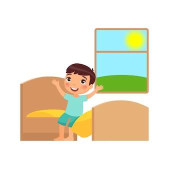 Junge wacht auf und setzt sich auf das bett. illustration des täglichen regimes