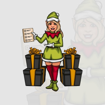 Junge weibliche elfe mit einer checkliste von geschenkboxen