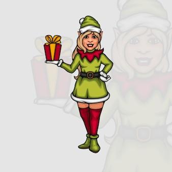 Junge weibliche elfe mit einer kleinen geschenkbox auf ihrer hand